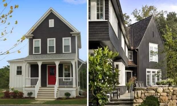 Черно-белое сочетание цветов фасада дома на фото 2016