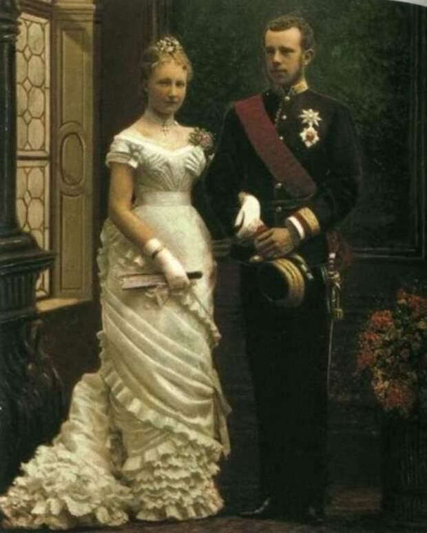 Свадебная фотография кронпринца Рудольфа и Стефании Бельгийской.