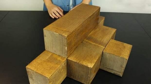 Несколько кусков деревянного бруса, и у вас — дизайнерская угловая полка