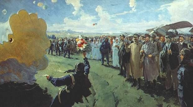 Сталин и члены Политбюро на аэродроме Тушино. Автор: Василий Сварог.