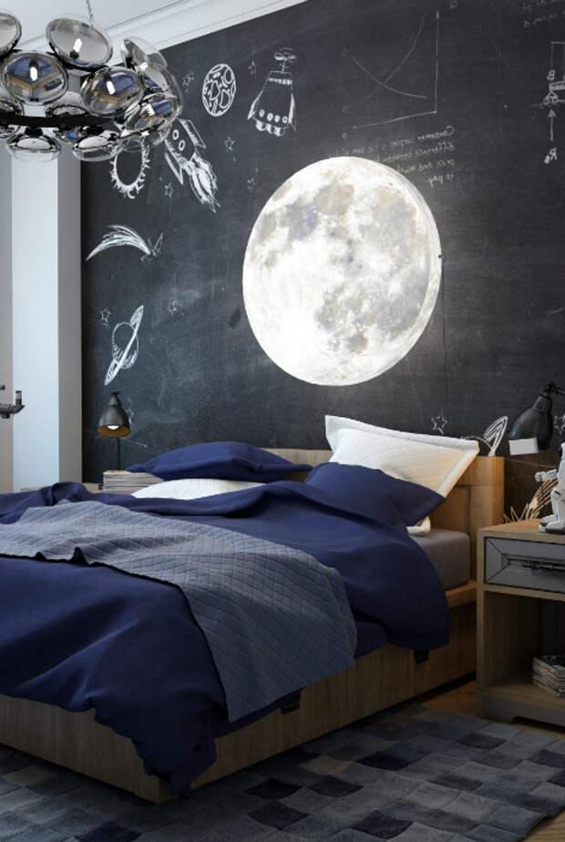 Спальня с огромной грифельной доской.