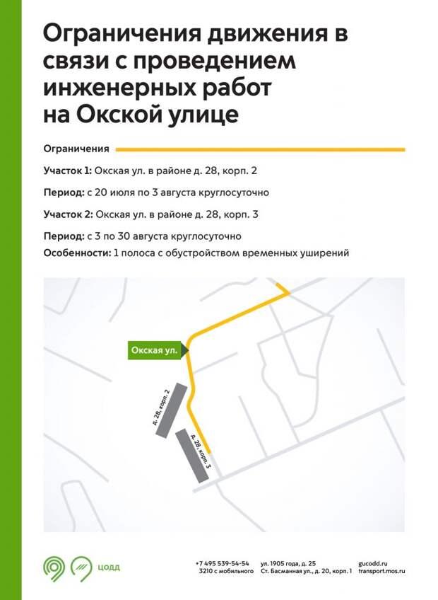 На участке Окской улицы ограничат движение до конца августа