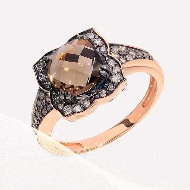 Кольцо SL, розовое золото, раухтопаз, бриллианты