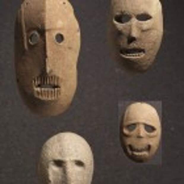 Group of Masks, Provenance unknown, Judean hills or Judean foothills, Pre-Pottery Neolithic B, 9,000 years old. (photo credit: Elie Posner/Israel Museum, Jerusalem)