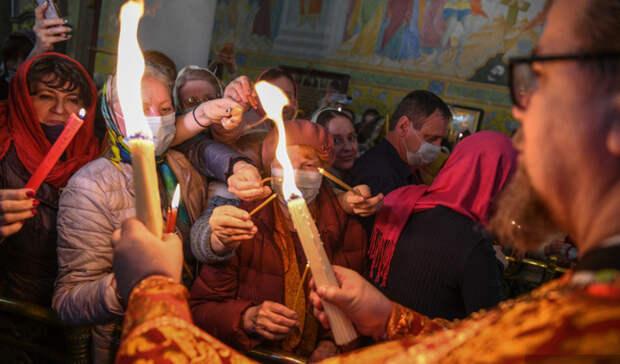 Благодатный огонь изИерусалима приземлился вКольцово