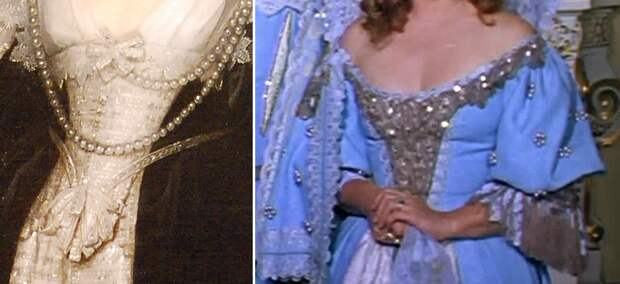 """Слева - деталь портрета герцогини д'Эвре, Антонис Ван Дейк, 1634, справа - деталь кадра из фильма """"Д'Артаньян и три мушкетёра"""" (1978)"""