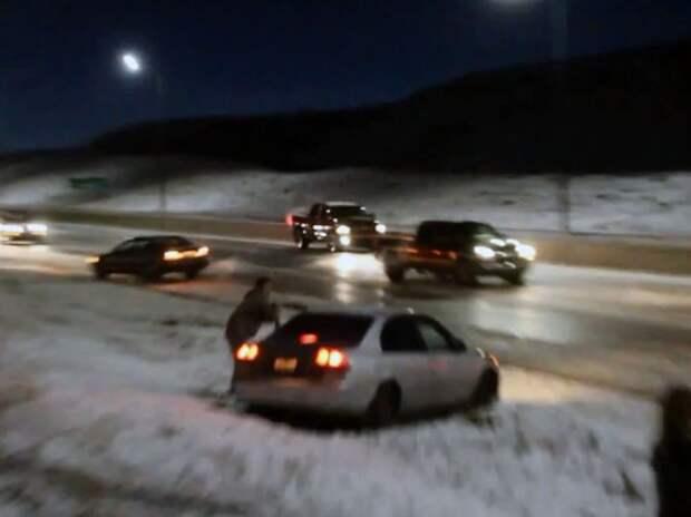 «Черный лед» стал причиной цепной аварии (ВИДЕО)