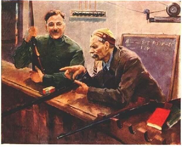 К.Е. Ворошилов и А.М. Горький в тире ЦДКА. Центральный музей Советской Армии. Автор: Василий Сварог.
