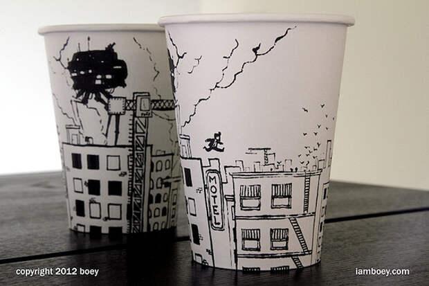 Арт на кофейных стаканчиках