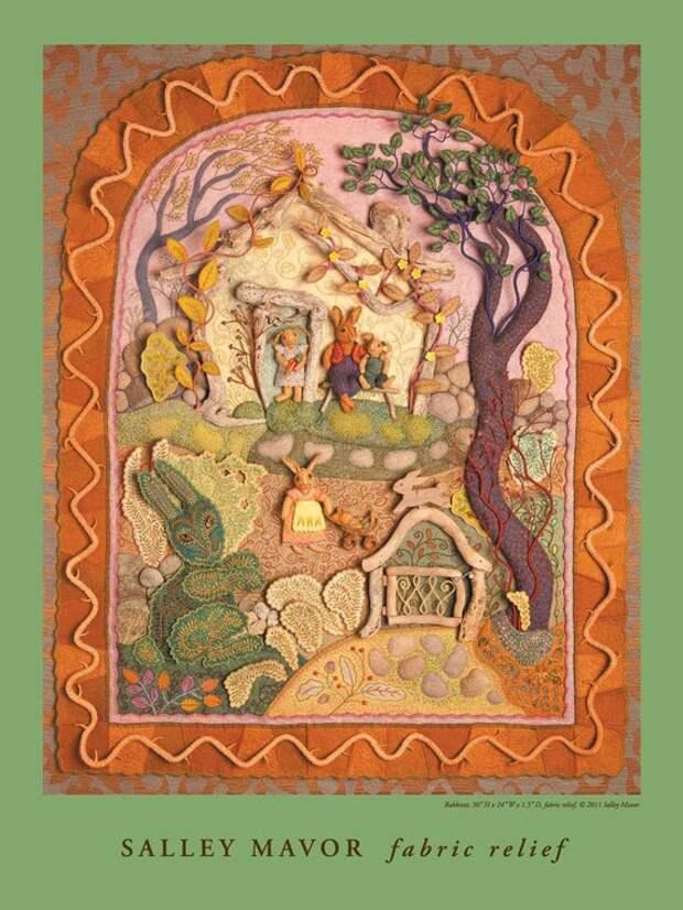Rabbitat fabric relief sculpture 18 x 24 Poster