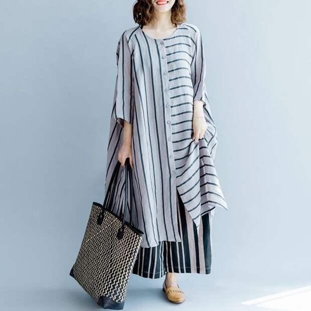 модные полосатые платья