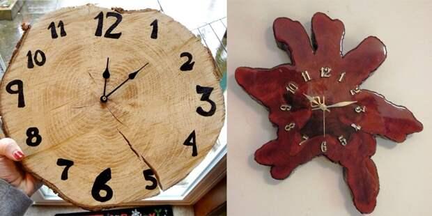 дизайн часов из дерева