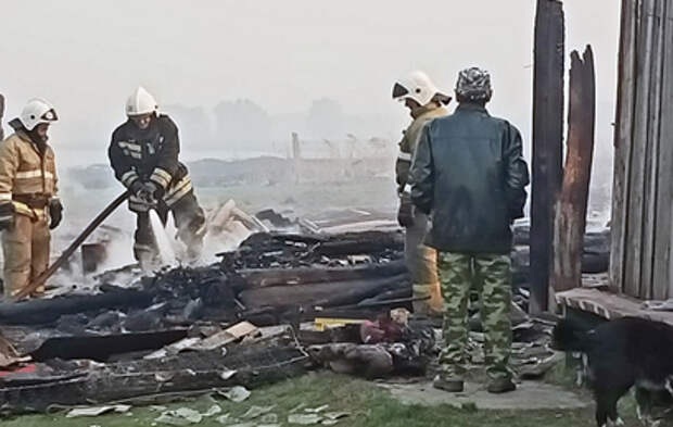 Пожар уничтожил половину омской деревни