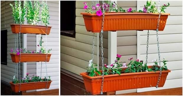 Красивый и простой в исполнении подвесной цветник для сада всего за 30 минут