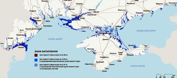 Одесса частично уйдет под воду, тогда как Затока, Вилково и Лазурное – полностью