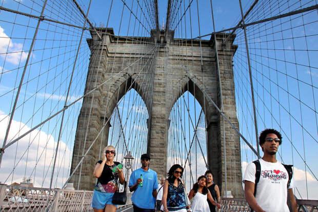 На Бруклинском мосту, Нью-Йорк красота, путешествия, фото