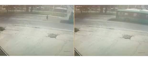 Алматинка госпитализирована после наезда автобуса (видео)