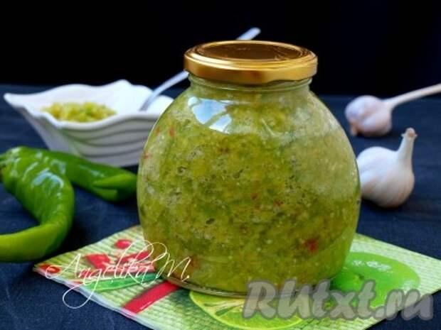 Аджика из зеленого перца и чеснока