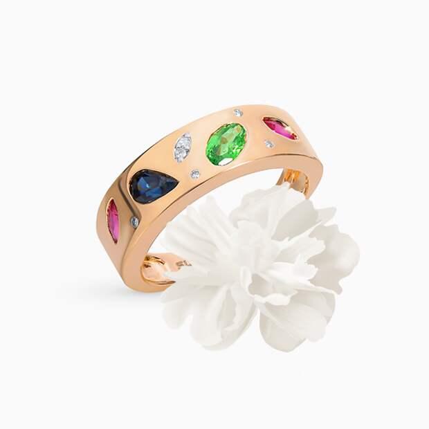 Кольцо SL, розовое золото, рубины, сапфиры, бриллианты