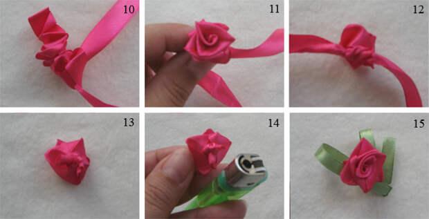 Как сделать маленькую розу из ленты