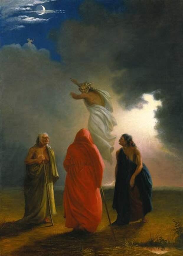 Сцена из «Макбета» - «Ведьмы». Картина Уильяма Риммера