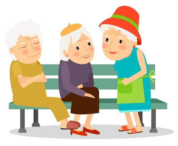 Сидят три бабушки на лавочке и хвастаются друг перед другом.
