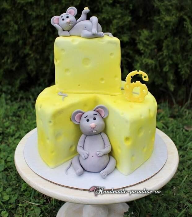 Мышка из мастики для детского торта (7)