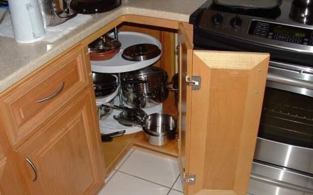 Угловая тумба — практичное решение для кухни