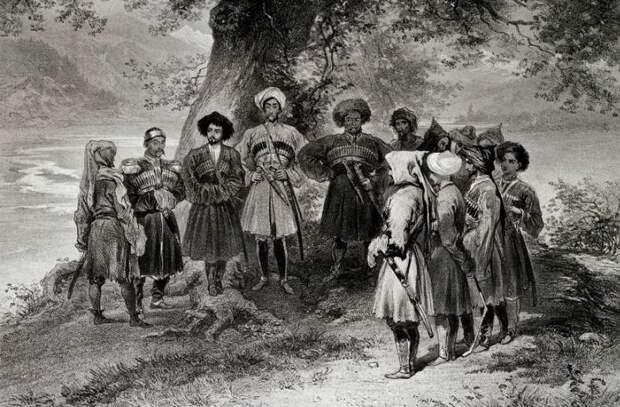 Собрание черкесских (адыгских) князей на рисунке Г. Г. Гагарина (1810 – 1893)
