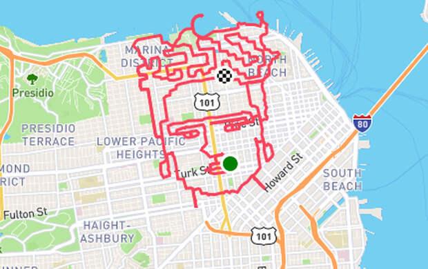 Американский бегун создаёт картины на карте города