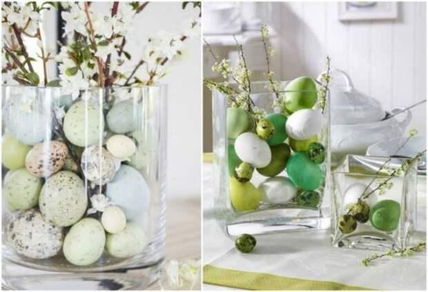 стеклянные вазы с крашенками и веточками
