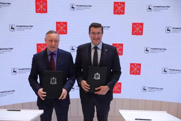 Глеб Никитин иАлександр Беглов подписали соглашение осотрудничестве между Нижегородской областью иСанкт-Петербургом