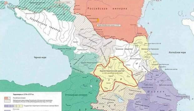 """Размеры """"Грузии"""" того времени. Границы выделены красным..."""