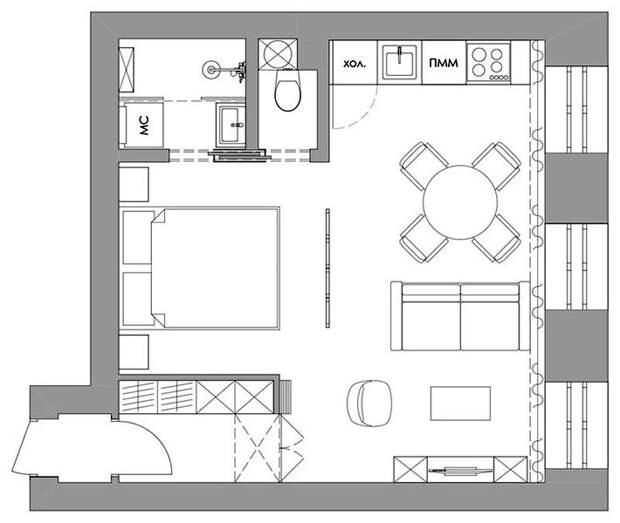Стильная студия — перепланировка бывшей коммунальной квартиры