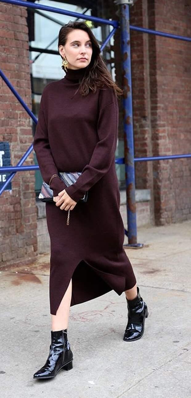 стильное вязаное платье