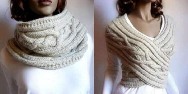 Вяжем стильный шарф-трансформер своими руками. легкий, мягкий, пушистый