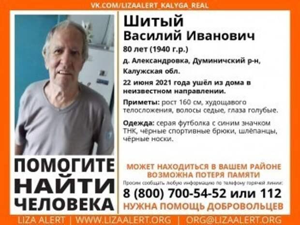 В Калужской области пропал 80-летний пенсионер
