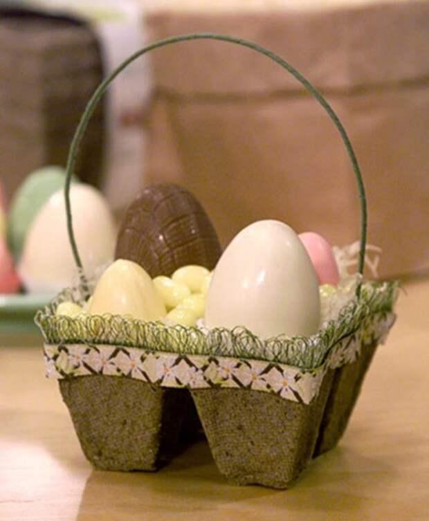 корзинка из яичной коробки