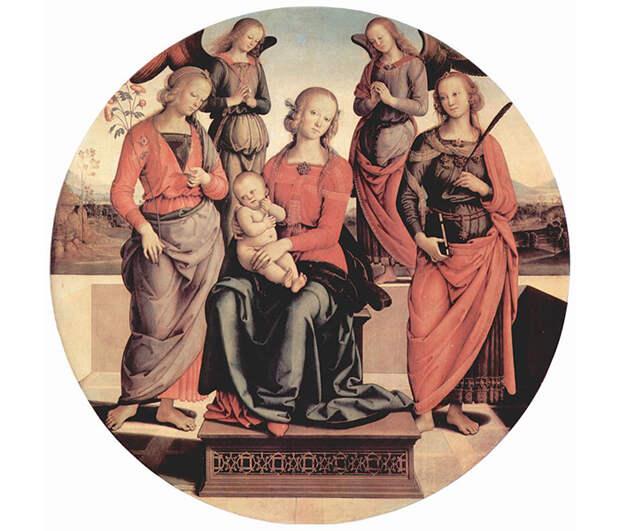 Мадонна с младенцем в окружении ангелов, св. Розы и св. Екатерины.