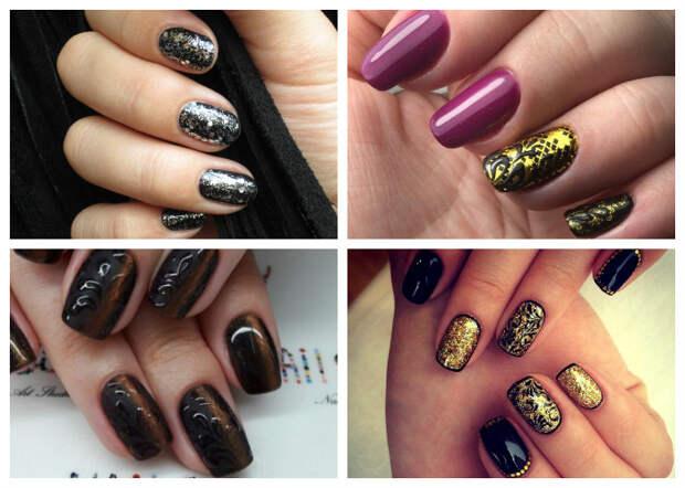 Новогодний маникюр 2017: темный дизайн ногтей с золотом, фото