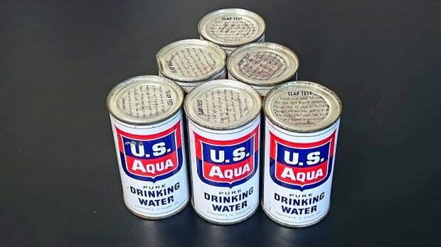 Американская консервированная вода времен Холодной войны. /Фото: laughingsquid.com