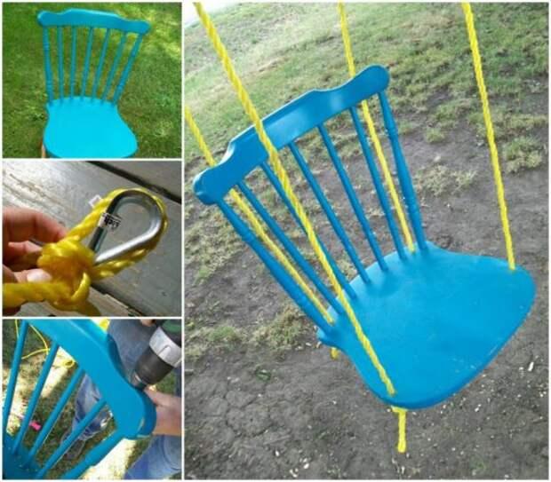 Качель из старого стула