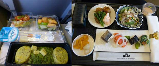 Как отличается еда пассажиров в бизнес-классе и эконом-классе в самолете Copy
