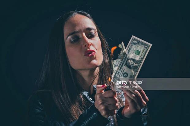 Burning Dollar Woman