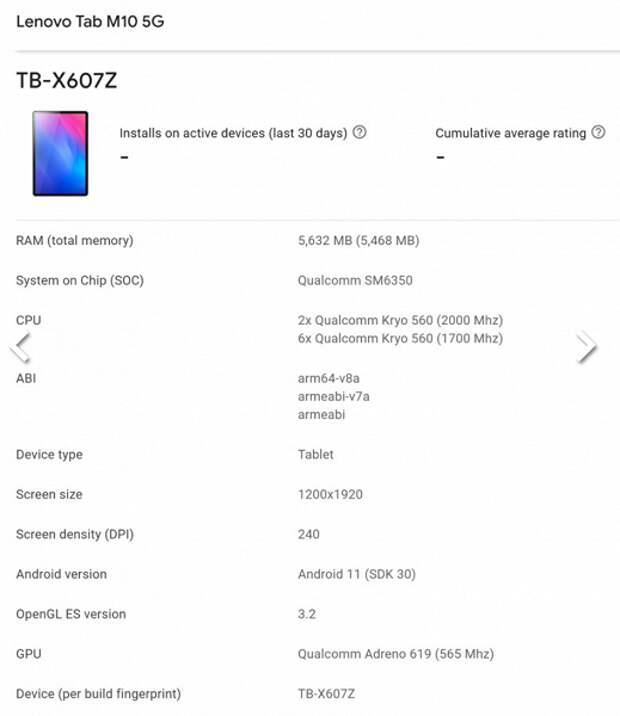Lenovo Tab M10 5G – планшет среднего уровня на платформе Snapdragon 690