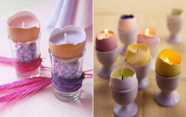 свечи в яичной скорлупе