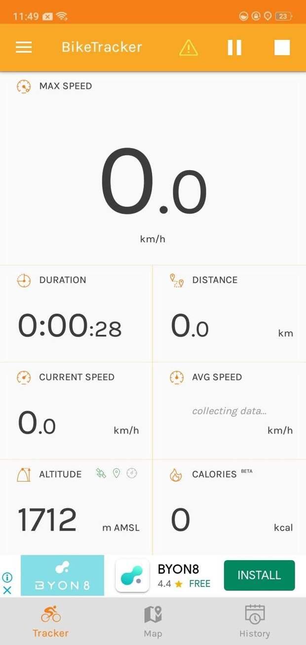 Homepage bike tracker app