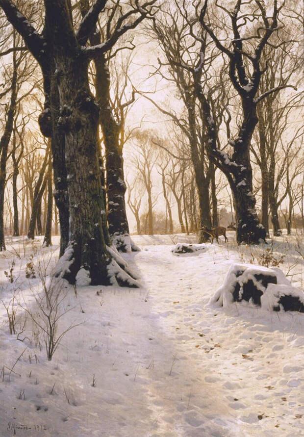 Зимний лес с оленями, 1912 год. Частное собрание