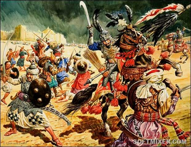 Tamerlane The Terrible.  After a ferocious battle, Tamerlane and his troops captured the fabulously wealthy Persian city of Ormuz.  Original artwork for illustration on pp10-11 of Look and Learn issue no 736 (21 Februaru 1976).