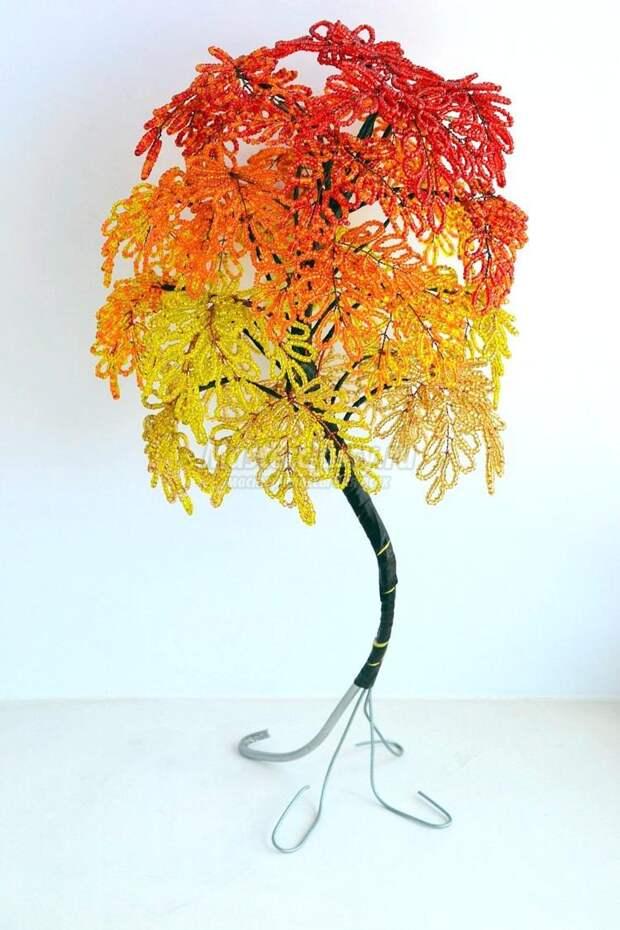 дерево из бисера. Золотая осень